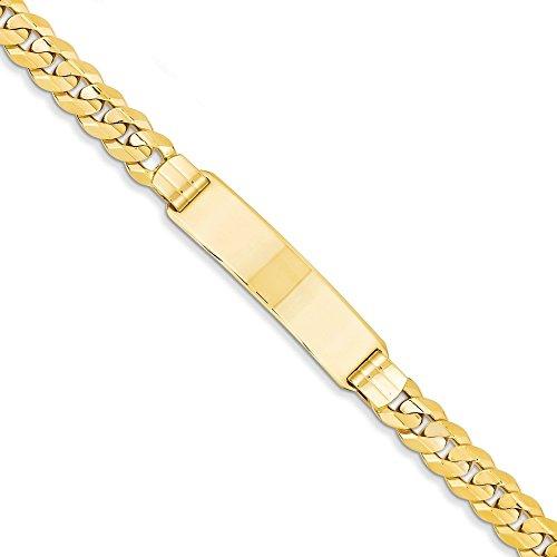 Gourmette en or 14carats-Bracelet d'identité-8,5mm-Mousqueton-20cm