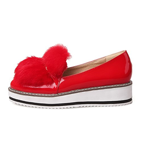 Women's on Shoes Leather Pull Patent Heels Kitten Round Solid Pumps Toe Closed Red WeenFashion w7nvdc1qaw