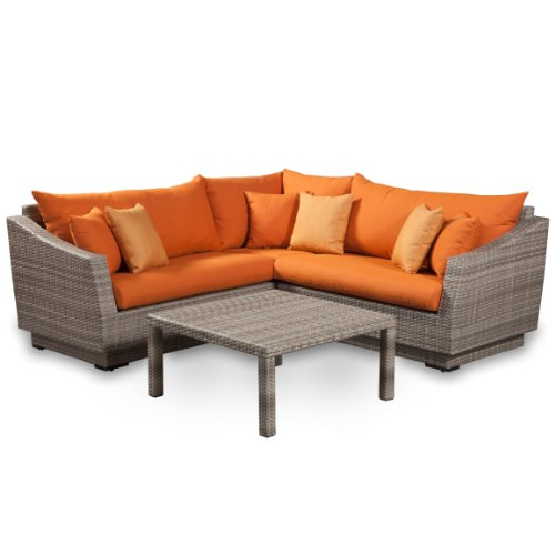 RST Brands 4-Piece Cannes Sectional and Conversation Table Patio Furniture Set, Tikka Orange (Rst Patio Set Outdoor)
