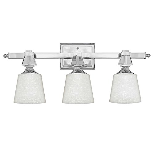 Quoizel Glass Bathroom Sconce (Quoizel DX8603C, Deluxe Glass Wall Sconce Lighting with Shades, 3LT, 225 Total Watts, Chrome)