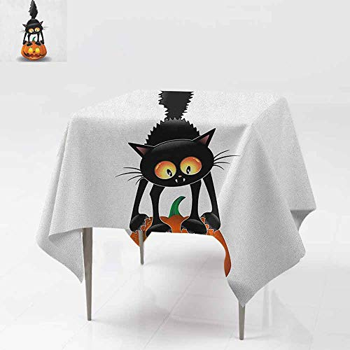 AndyTours Square Tablecloth,Halloween,Black Cat on Pumpkin Drawing Spooky Cartoon Characters Halloween Humor Art,for Events Party Restaurant Dining Table Cover,50x50 Inch Orange Black]()