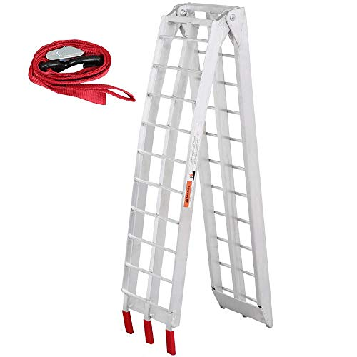 Yaheetech YT-00034277 Silver Large 7.5 ft Aluminum ATV Motorcycle Loading Ramp, Foldable, 750 Lb Capacity, ()
