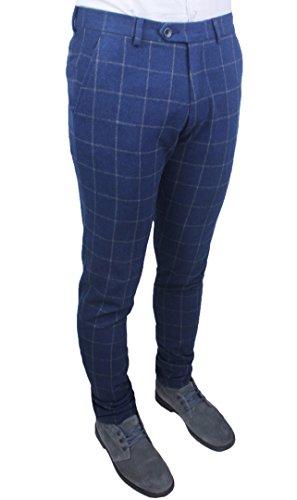 Pantaloni uomo sartoriali blu grigio quadri slim fit invernali casual eleganti jeans con risvolto