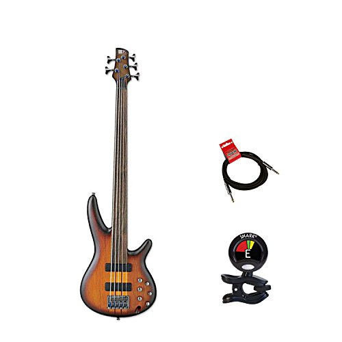 Ibanez SRF705 Portamento 5 String Fretless Bass Guitar Package With Guitars Clip On Tuner and Instrument Cable Bundle