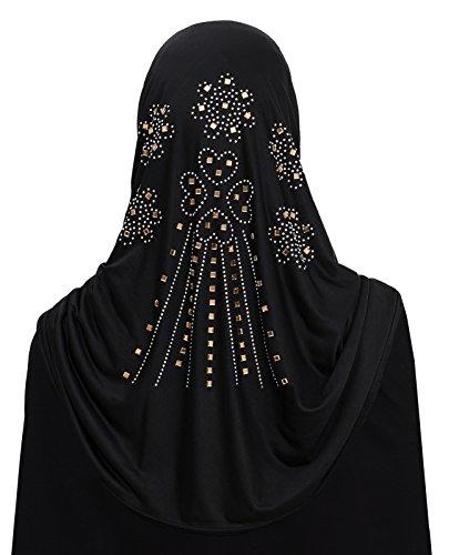 Al Amira 1 piece Aiyah Hijab Ultra Silky Lycra 4 Heart Design (Black2)
