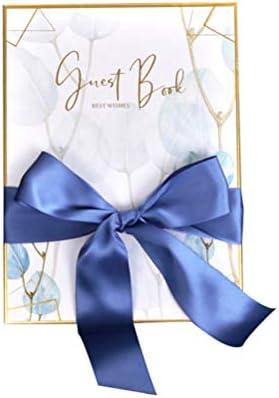 NUOBESTY ビジネス宴会ベビーシャワー卒業パーティーのための弓との結婚式のゲストブックレジストリブック