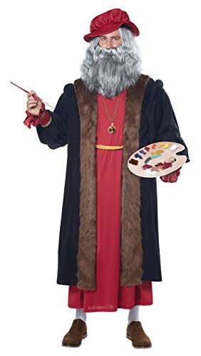 California Costumes Men's Leonardo Da Vinci Renaissance Man Costume, Red/Black, Small/Medium -