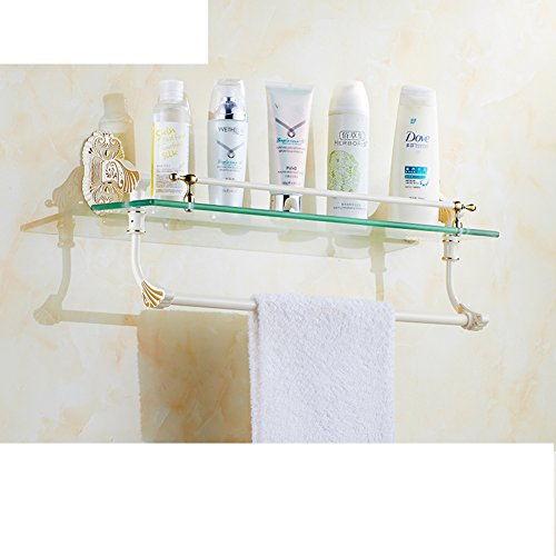 Golden and white bathroom hardware accessories/ tempered glass shelf ...