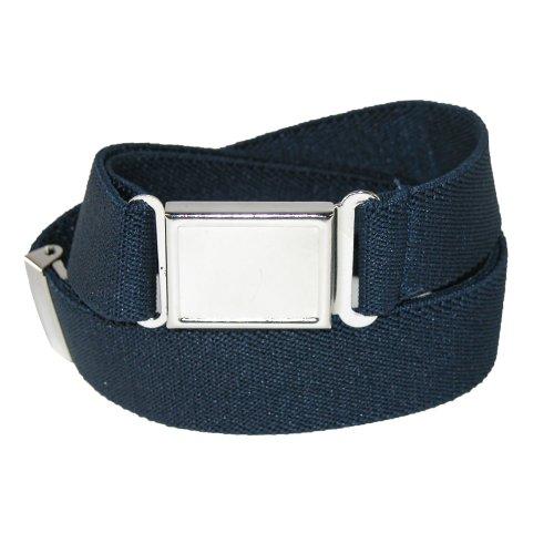 [Jackster Kids Elastic Adjustable One Size Belt w/ Magnetic Metal Buckle (Navy)] (Navy Belt Buckle)