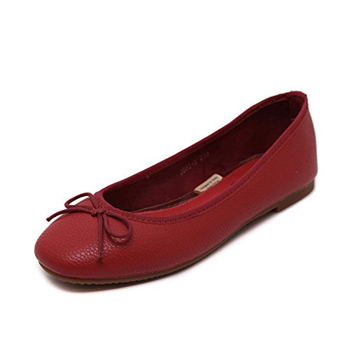 fereshte Ladies Women's Comfy Slip On Work School Dolly Pumps Ballet Flats Shoes 618Red