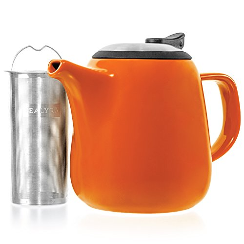 Teapot Duo - Tealyra - Daze Ceramic Teapot Orange - 27-ounce (2-3 cups) - Small Stylish Ceramic Teapot with Stainless Steel Lid and Extra-Fine Infuser To Brew Loose Leaf Tea
