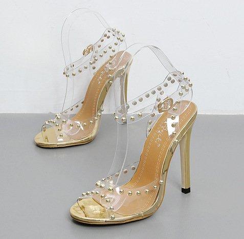 YCMDM Donne Sandali rivetti pellicola trasparente di cristallo principessa di cristallo Moda Open Toe tacchi alti , gold , 35
