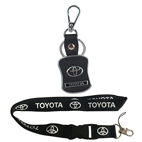 New 1pcs Toyota Keychain Lanyard Badge Holder + 1pcs Toyota Auto Logo Leather Metal Keychain
