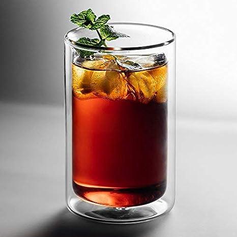 9f2958c986b553 GAIWAN - Verres à thé double paroi - Lot de 2 verres simples style « I »  pour thé ou latte macchiato, tasse thermique passe au lave-vaisselle  (Icegold330-T, ...
