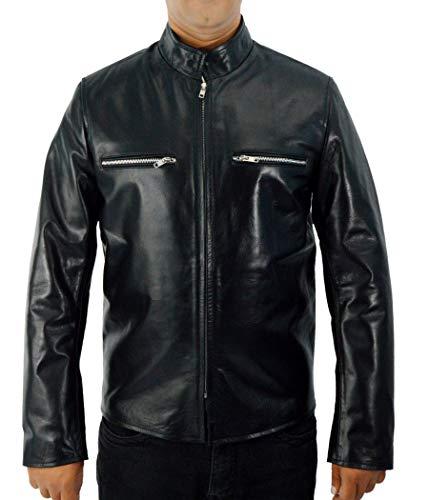 F&H Men's Genuine Leather Johnny Depp Charles Mortdecai Cafe Racer Jacket...