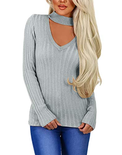SEBOWEL Woman Sexy Chocker V Ribbed Blouses Pullover Tops Sweaters Gray M ()