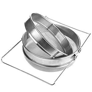 WINOMO Double Honey Filter Beekeeping Equipment Sieve Stainless Steel Strainer Set