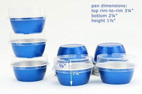 KitchenDance Disposable Aluminum Colored Baking Cups- Creme Brulee Cups- Dessert Cups- 4 oz. Size with Lids (100, Blue w/Stackable Lid) (Creme Brulee Souffle)