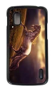 Google Nexus 4 Case,MOKSHOP Adorable horse art Hard Case Protective Shell Cell Phone Cover For Google Nexus 4 - PC Black