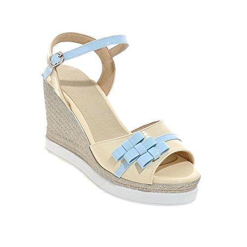 Ciondolo Da Donna Con Cinturino Alla Caviglia Con Zeppa Open Toe Blu Sandalo