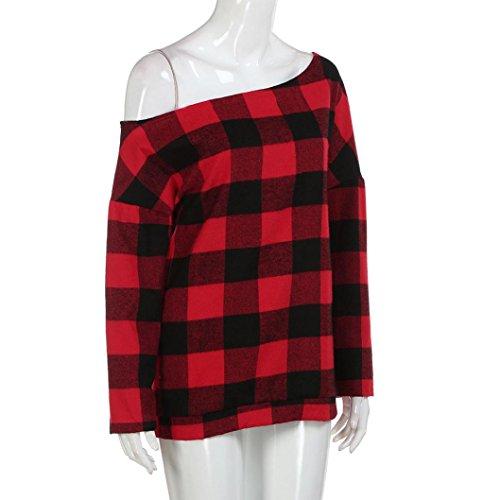FRYS femme grande femme top hiver chemisier mode femme taille vetement fashion femme manteau femme t pull fille blouse carreaux femme shirt cher pas casual chic Rouge soiree chemise Printemps rPUqXCr