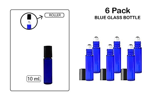 Katzco Roll-On, Glass Medicine Bottle, Amber Boston Cobalt Blue Round Bottles 10ML, 6 Pack - for Essential Oils, Scents, Travel, Perfume Kitchen, Bath, Cooking, Labs, Laundry, Cosmetic - Re-Usable