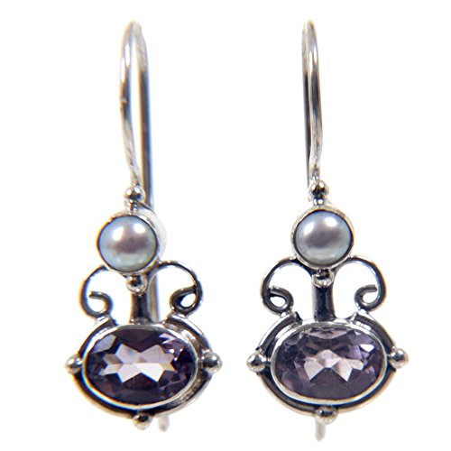 NOVICA Amethyst and Cultured Freshwater Pearl Earrings with Sterling Silver, Sunrise Spirit