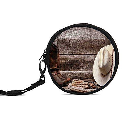 Western Decor Durable Round Coin Purse,American West Rodeo White Straw Cowboy H