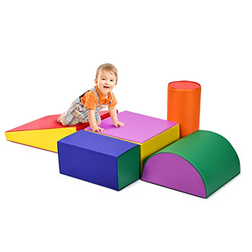 Costzon Climb and Crawl Foam Set, 5-Piece Colorful Activity Play Blocks w/Unique Shapes, Lightweight Interactive Set, Safe Active Climbing, Crawling, Sliding for Toddler, Baby and Preschooler (Indoor Activity Toys)