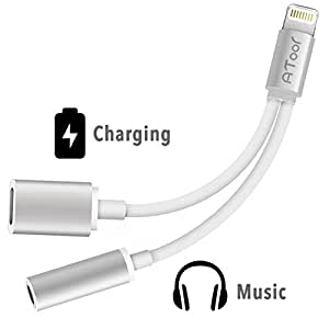 2 in 1 Lightning iPhone 7 Adapter , ATOOL Lightning to 3.5mm and Charger , Lightning Audio Adapter Earphone Jack Cable for iPhone 7 / 7 Plus [Silver] - No Music Control and Calling Function