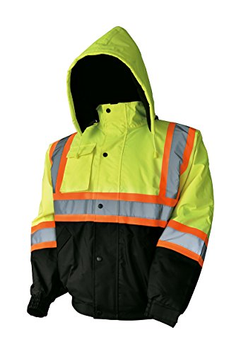 (LM High Visibility Class III Reflective Waterproof Bomber Jacket W/Removable Hood (XL,)