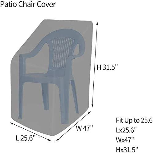 25 /× 25 /× 47 Zoll Au/ßenstuhlbezug mit geschlossenem Gurt schwarz gestapelt Gartenstuhlbez/üge Gartenstuhlbez/üge atmungsaktive Terrassenstuhlbez/üge aus Polyester Wasserdicht