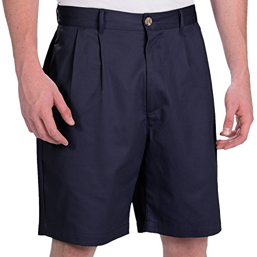 Smith & Tweed Mens Wrinkle-Free Twill Shorts with Double-Reverse Pleats (30, Navy) ()