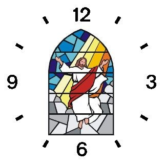 Jesus Christ (Stained Glass) Christian Theme - WATCHBUDDY DELUXE TWO-TONE THEME WATCH - Arabic Numbers - Black Leather Strap-Children's Size-Small ( Boy's Size & Girl's Size )