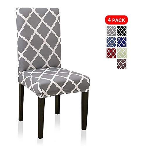 Stretch Dining Chair Covers, Geometric Print Dining Chair Slipcovers, Removable Washable Spandex Furniture Seat Protector for Kitchen Hotel Table Banquet (4 Per Set, Gray) (Chairs Covers Table Dining)
