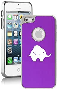 Apple iPhone 4 4s Aluminum Plated Chrome Hard Back Case Cover Baby Elephant (Purple)