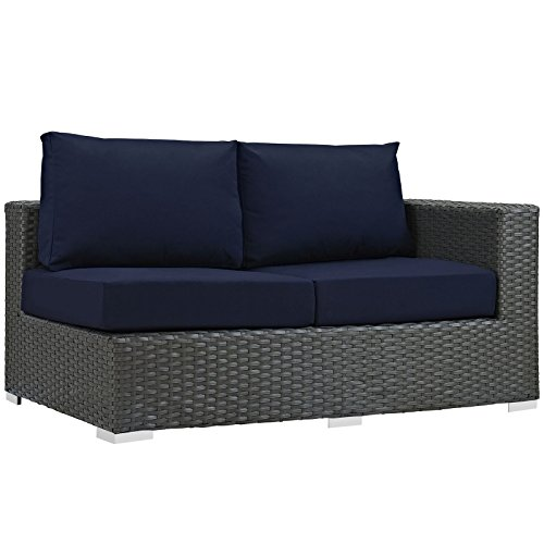 Modway LexMod Sojourn Outdoor Patio Right Arm Loveseat, Canvas Navy