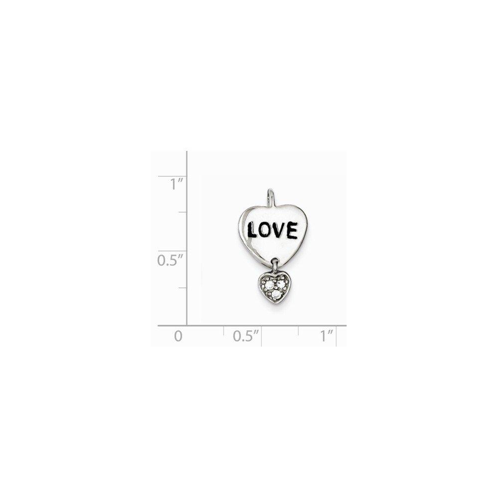 12mm x 18mm Sterling Silver Love CZ Cubic Zirconia Heart Pendant
