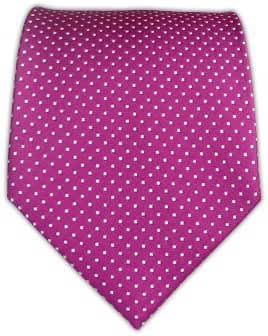 100% Woven Silk Fuschia Pin Dot Tie