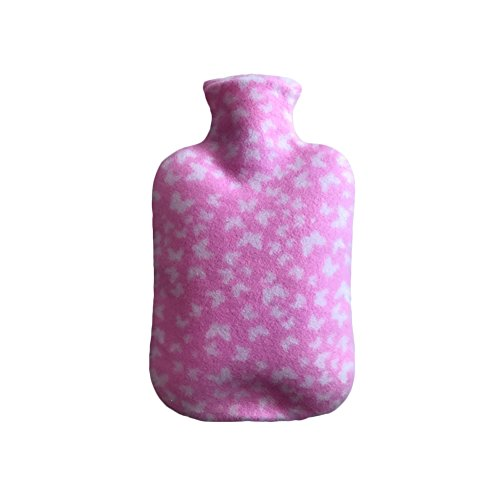 Fur Hot Water Bottle With Fleece Cover for Kids Large Rubber Bag Furry Print Covers Hot & Cold Relief 2000ML ()