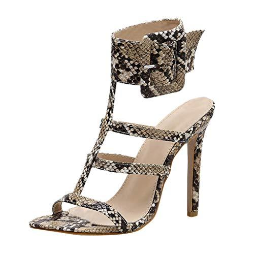 Orangeskycn Women Sandals Fashion Snake Print Buckle Fish Mouth Hollow Shoes Non-Slip High Heel Sandals Beige