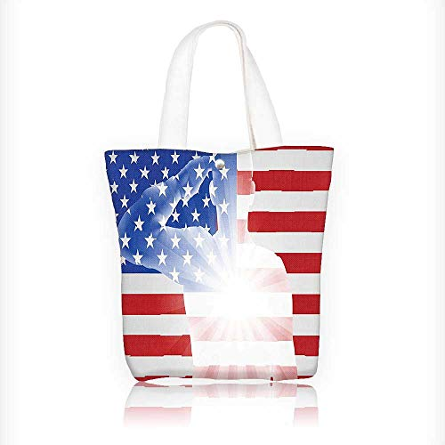 Canvas Shoulder Hand Bag Sier in front of Memorial Day th of July Veteran Naval Army Tote Bag for Women Large Work tote Bag Shoulder Travel Totes Beach Bag W16.5xH14xD7 INCH