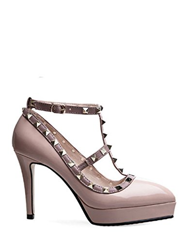 for coollight Rivets Pink Pointy Toe Thin Women's High Party Studs Shoes Dress Heeled Pumps S6zSw
