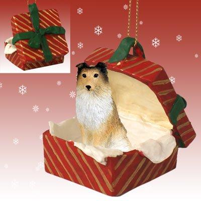 SHELTLAND SHEEPDOG Sheltie Dog SABLE n Red Gift Box Christmas Ornament Resin -