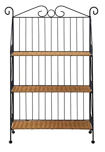 - 4D Concepts 3-Tier Bookcase, Wicker/ Metal