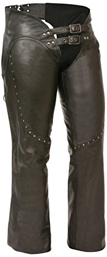 Milwaukee Women's Low Rise Double Buckle Leather Chaps (Black, X-Large) (Women Chaps)
