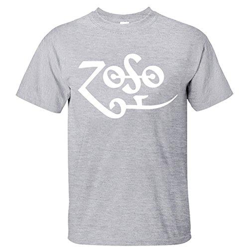 [XANAB Led Zeppelin Zoso Custom Men T Shirt grey XL] (Led Zeppelin Zoso T-shirt)