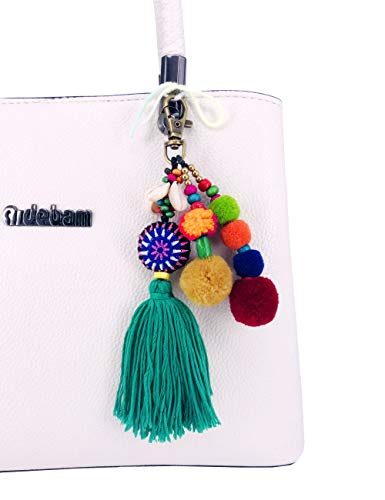 QTMY Pom Pom Shell Beads Tassel Bag Charm Pendant Boho Keyring Keychain for Women Purse Handbag Decor
