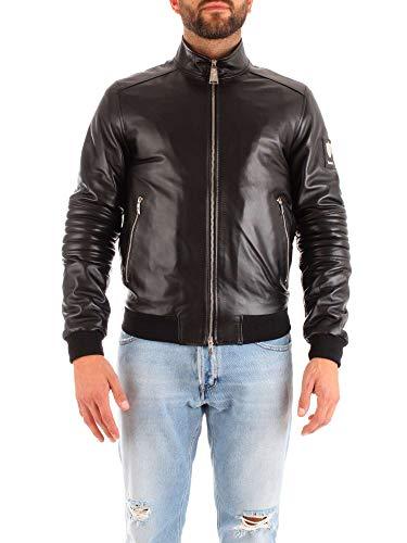Cesare Paciotti Men's Sa1406black Black Leather Outerwear Jacket
