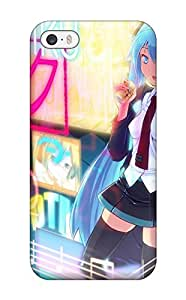 Iphone 5/5s Hard Back With Bumper Silicone Gel Tpu Case Cover Vocaloid Hatsune Miku School Uniforms Thigh Highs Pigtails Teru Twintails Anime Aqua Aqua